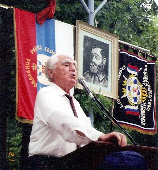 Momčilo Đujić delivering a speech in Canada