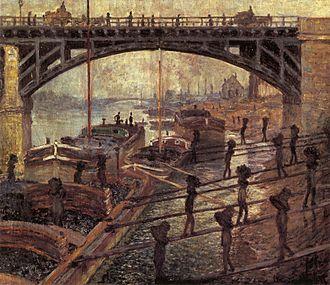 Bathers at Asnières - Monet, Men Unloading Coal, c.1875