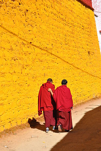 Monks at Ganden Monastery in Dagze County Monks at Ganden monastery, 2013.jpg