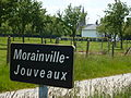 Morainville-Jouveaux (Eure, Fr) city limit sign, Morainville.JPG