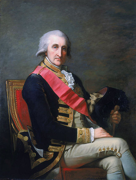 Admiral Lord Rodney (appointed a Knight Companion in 1780) wearing the riband and star of the Order Mosnier, George Rodney.jpg