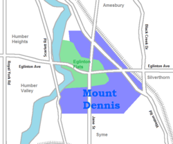 Location of Mount Dennis