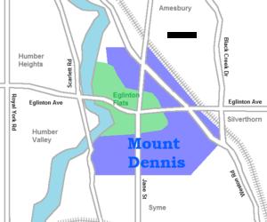 Mount Dennis - Image: Mount Dennis map