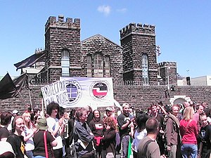 Mount Eden Prisons - The Prisons have been the site of several protests. Pictured is a protest which took place in October 2007 over recent police raids.