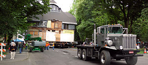 Ladd Carriage House - The Ladd Carriage House being temporarily moved to a different location in 2007.