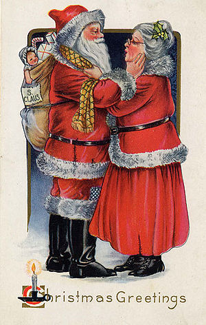 Mrs. Claus - Mrs. Claus says goodbye to her husband as he sets off on his journey in this 1919 postcard