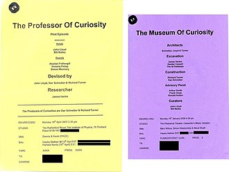 The Museum of Curiosity - The front covers of the scripts for The Professor of Curiosity and episode three of The Museum of Curiosity.