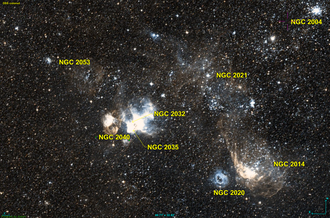 NGC 2032 - NGC 2032 in the centre, with NGC 2035, just below it and NGC 2040 on the left of NGC 2032.