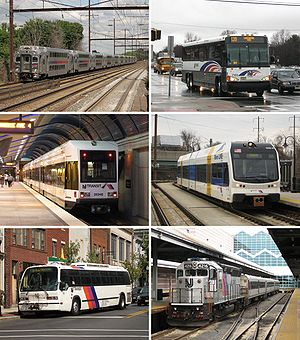 NJ Transit - NJ Transit provides bus service throughout New Jersey, commuter rail service in northern and central New Jersey and along the Route 30 corridor, and light rail service in Hudson and Essex counties and in the Delaware Valley.
