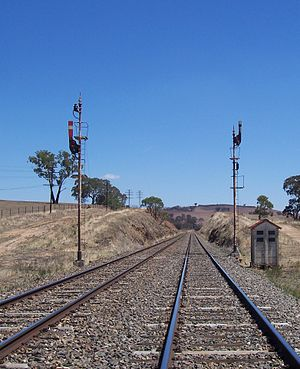 Australian railway signalling - UQ semaphore signals, 3 position auto (right) and 2 position distant (left)
