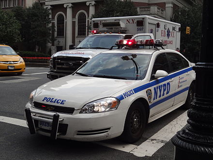 Law enforcement in the U.S. is maintained primarily by local police departments. The New York Police Department (NYPD) is the largest in the country. NYPD impala.JPG