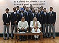 Narendra Modi with the medal winners of the 17th Asian Games, Incheon 2014, in New Delhi. The Minister of State for Skill Development, Entrepreneurship, Youth Affairs and Sports (Independent Charge) (3).jpg