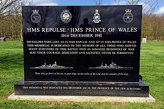 Sinking of Prince of Wales and Repulse - The ships memorial at Alrewas