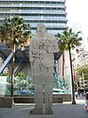 Steel sculpture of Ben Chifley by Simeon Nelson in Chifley Square, Sydney