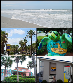 The beach, The Beaches Town Center, turtle statue, Seahorse Oceanfront Inn, Aqua East Surf Shop