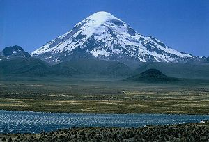 Geology of Bolivia - 6,542 meter high Nevado Sajama is one of several volcanoes along Cordillera Occidental