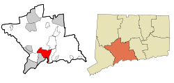 New Haven County Connecticut Incorporated and Unincorporated areas New Haven Highlighted.svg