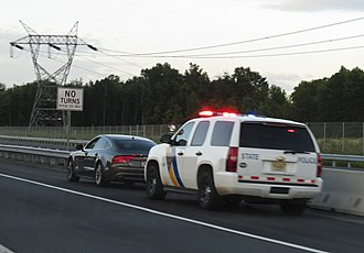 Terry stop - New Jersey State Police temporarily detain a driver during a traffic stop on the New Jersey Turnpike.
