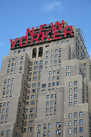 New Yorker Hotel building from below