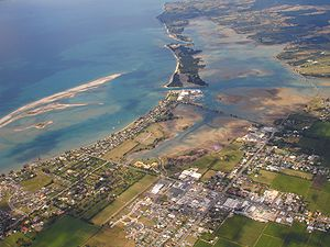 Motueka - An aerial view of Motueka looking east