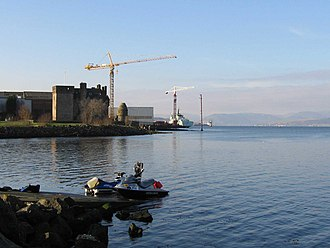 Port Glasgow - Newark Castle stands close to the last shipyard on the Lower Clyde.