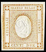 NewspaperStampItaly1862Michel13.jpg