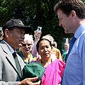Nick Clegg being presented a Gurkha Hat, by a Gurkha veteran.jpg
