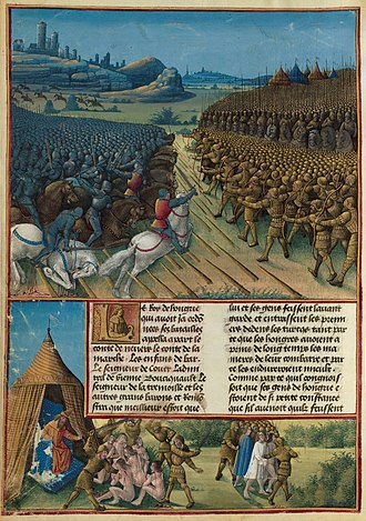 Battle of Nicopolis - miniature by Jean Colombe (c. 1475)