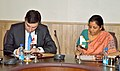 Nirmala Sitharaman and the Minister of Economy and Sustainable Development of Georgia, Mr. Giorgi Gakharia signing a Joint Statement in a meeting, in New Delhi.jpg
