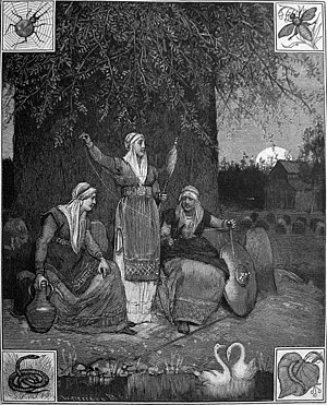 Norns - The Norns spin the threads of fate at the foot of Yggdrasil, the tree of the world. Beneath them is the well Urðarbrunnr with the two swans that have engendered all the swans in the world.