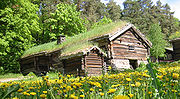 Log houses in the open air museum.