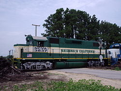 North Carolina and Virginia Railroad 3837 at rural grade crossing.JPG