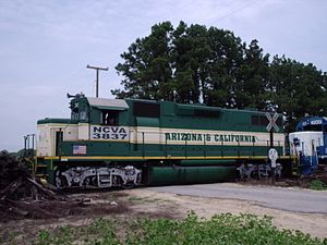 North Carolina and Virginia Railroad - An NCVA EMD GP38 locomotive, painted in the colors of the Arizona and California Railroad