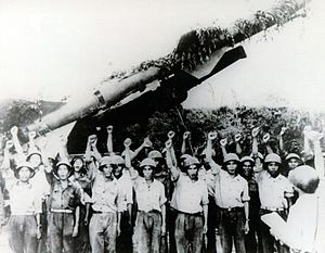 North Vietnamese SAM crew in front of SA-2 lau...