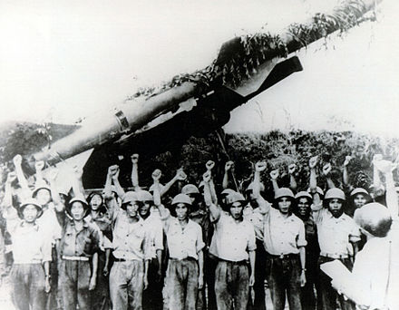 North Vietnamese SAM crew in front of SA-2 launcher. The Soviet Union provided North Vietnam with considerable anti-air defence around installations. North Vietnamese SA-2.jpg