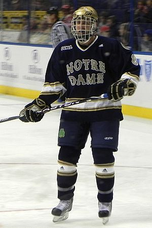 Notre Dame Fighting Irish men's ice hockey - Notre Dame hockey player in an away uniform (2010).