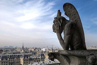 """Strix (mythology) - """"Le Stryge"""" Chimera overlooks Paris from atop Notre-Dame de Paris."""