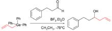 Skeletkemiaj strukturoj skizante aldonan kemian reakcion inkluzive de organogermaniokunmetaĵo.