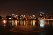 View of downtown Oakland looking west across Lake Merritt.