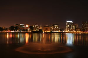 Alameda County, California - View of downtown Oakland looking west across Lake Merritt.