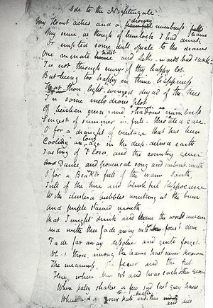 Ode to a Nightingale - Holograph of Keats's Ode to a Nightingale written in May 1819