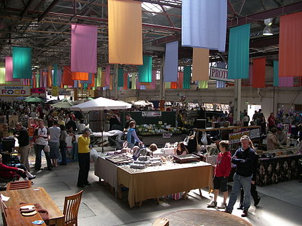 Shopping at the weekly Old Bus Depot Markets, Kingston Old bus depot markets.jpg