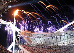 The olympic flame at the Opening Ceremony.