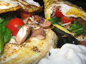 English: Picture of a fold-over omelette conta...