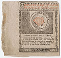 One dollar State of Rhode Island printed by Hall and Sellers 1780.jpg