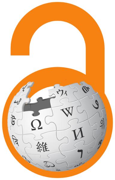 логотип співпраці Вікіпедії та Вільного доступу: лого Вікіпедії в оранжевому замочку