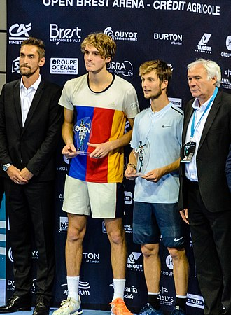 Stefanos Tsitsipas - Tsitsipas with the runner-up trophy at the 2017 Brest Challenger