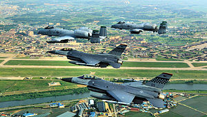 Military air base - Osan Air Base, an air base shared by United States Air Force and Republic of Korea Air Force in South Korea.