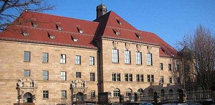 The courthouse in Nuremberg, where the trials took place Ostbau Justizpalast Nurnberg.jpg