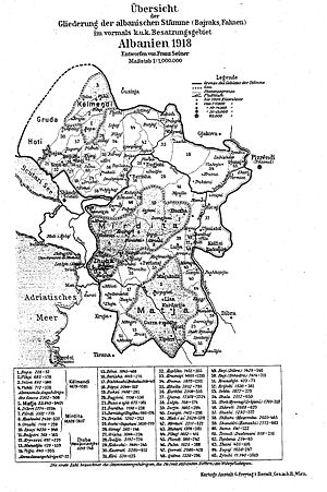 Overview of Albanian tribes, Franz Seiner, 1918.jpg